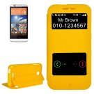 For HTC Desire 510 Yellow Sand Flip Leather Case with Call Display ID & Holder