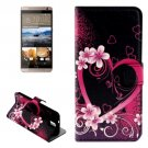 For HTC One E9+ Heart Pattern Leather Case with Holder, Card Slots & Wallet
