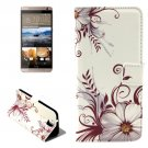 For HTC One E9+ Flower Pattern Leather Case with Holder, Card Slots & Wallet