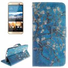 For HTC One M9 Plum 2 Pattern Leather Case with Holder, Card Slots & Wallet