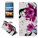 For HTC One M9 Flowers Pattern Leather Case with Holder, Card Slots & Wallet