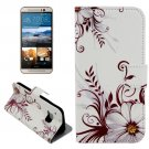 For HTC One M9 Flower Pattern Leather Case with Holder, Card Slots & Wallet