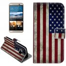 For HTC One M9 US Flag Pattern Leather Case with Holder, Card Slots & Wallet