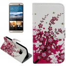 For HTC One M9 Blossom Pattern Leather Case with Holder, Card Slots & Wallet