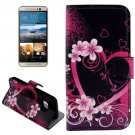 For HTC One M9 Heart Pattern Leather Case with Holder, Card Slots & Wallet