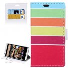 For HTC Desire 626 Stripe Pattern Leather Case with Holder, Card Slots & Wallet