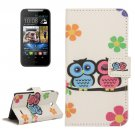 For HTC Desire 310 Owl Pattern Leather Case with Holder, Card Slots & Wallet