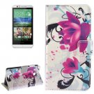 For HTC Desire 510 Flowers Pattern Leather Case with Holder, Card Slots & Wallet
