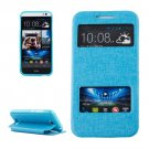 For HTC Desire 616 Blue Flip Leather Case with Call Display ID & Holder