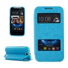 For HTC Desire 310 Blue Oracle Leather Case with Call Display ID & Holder