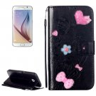 For Galaxy S6 Heart Diamond Leather Case with Holder, Card Slots & Wallet