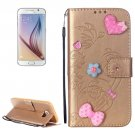 For Galaxy S6 Heart Diamond Gold Leather Case with Holder, Card Slots & Wallet