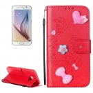 For Galaxy S6 Heart Diamond Red Leather Case with Holder, Card Slots & Wallet