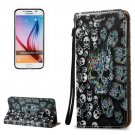 For Galaxy S6 3D Skull Pattern Leather Case with Holder, Card Slots & Lanyard