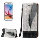 For Galaxy S6 3D Feather Pattern Leather Case with Holder, Card Slots & Lanyard