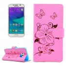 For Galaxy S6 Butterfly Pink Leather Case with Holder, Card Slots & Wallet
