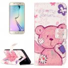 For Galaxy S6 Bear Pattern Leather Case with Holder, Card Slots & Wallet