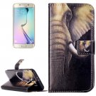 For Galaxy S6 Elephant Pattern Leather Case with Holder, Card Slots & Wallet