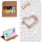 For Galaxy S6 Heart Diamond Leather Case with Holder & Card Slots