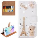 For Galaxy S6 Little Bear Diamond Leather Case with Holder & Card Slots