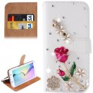 For Galaxy S6 Flowers Diamond Leather Case with Holder & Card Slots