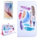 For Galaxy S6 Feathers Pattern Leather Case with Holder, Card Slots & Wallet
