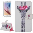 For Galaxy S6 Girafe Pattern Leather Case with Holder, Card Slots & Wallet