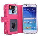 For Galaxy S6 Magenta Separable Leather Case with Zipper, Card Slots & Lanyard