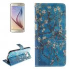 For Galaxy S6 Plum Pattern Leather Case with Holder, Card Slots & Wallet