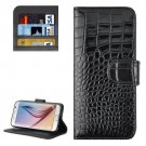 For Galaxy S6 Black Crocodile Leather Case with Holder, Card Slots & Wallet