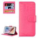 For Galaxy S6 Magenta Crocodile Leather Case with Holder, Card Slots & Wallet