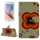 For Galaxy S6 Flower Pattern Leather Case with Holder & Wallet