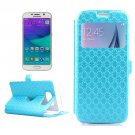 For Galaxy S6 Blue Leather Case with Card Slots, Holder & Caller ID Window