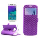 For Galaxy S6 Purple Leather Case with Card Slots, Holder & Caller ID Window
