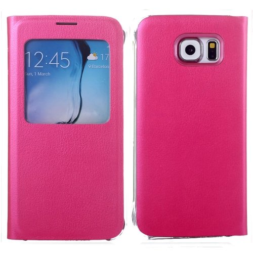 For Galaxy S6 Magenta Litchi Leather Case with Call Display ID & Sleep function