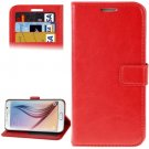 For Galaxy S6 Red Crazy Horse Leather Case with Holder, Card Slots & Wallet