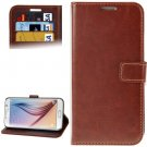 For Galaxy S6 Brown Crazy Horse Leather Case with Holder, Card Slots & Wallet