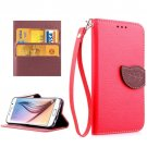 For Galaxy S6 Red Litchi Leaf Leather Case with Holder, Card Slots & Lanyard