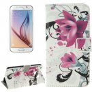 For Galaxy S6 Lotus Pattern Leather Case with Holder, Card Slots & Wallet