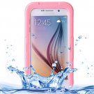 For Galaxy S6 Pink IPX8 Waterproof PVC Case with Touch Responsive Front