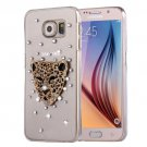 For Galaxy S6 Fevelove Diamond Leopard Pattern PC Protective Case Back Cover