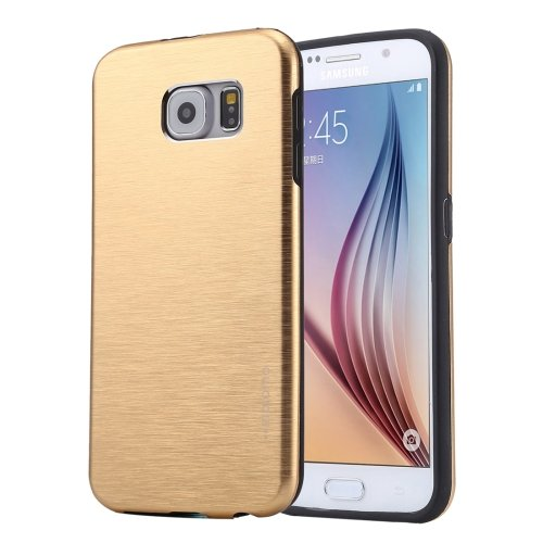 For Galaxy S6 Gold MOTOMO Brushed Texture Metal + TPU Protective Case