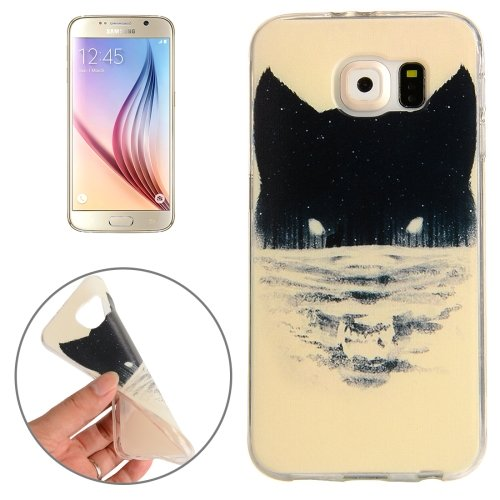 For Galaxy S6 Abstract Wolf Head Pattern TPU Protective Case