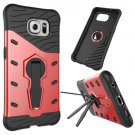 For Galaxy S6 Red Rotating Tough Armor TPU+PC Combination Case & Holder