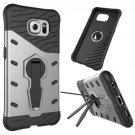 For Galaxy S6 Silver Rotating Tough Armor TPU+PC Combination Case & Holder