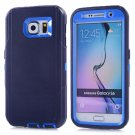 For Galaxy S6 Dark Blue 3 in 1 Hybrid Silicon & Plastic Protective Case