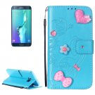 For Galaxy S6 Edge+ Blue Diamond Leather Case with Holder, Card Slots & Wallet