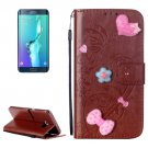 For Galaxy S6 Edge+ Brown Diamond Leather Case with Holder, Card Slots & Wallet