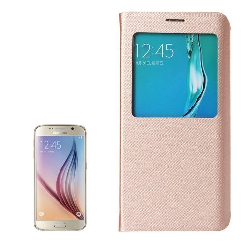 For Galaxy S6 Edge+ Gold Litchi Leather Case with Sleep / Wake-up Function