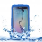 For Galaxy S6 Edge+ Dark Blue IP x 8 PVC + Silicone Waterproof Case with Lanyard